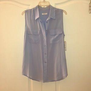Equipment sleeveless slim signature silk blouse